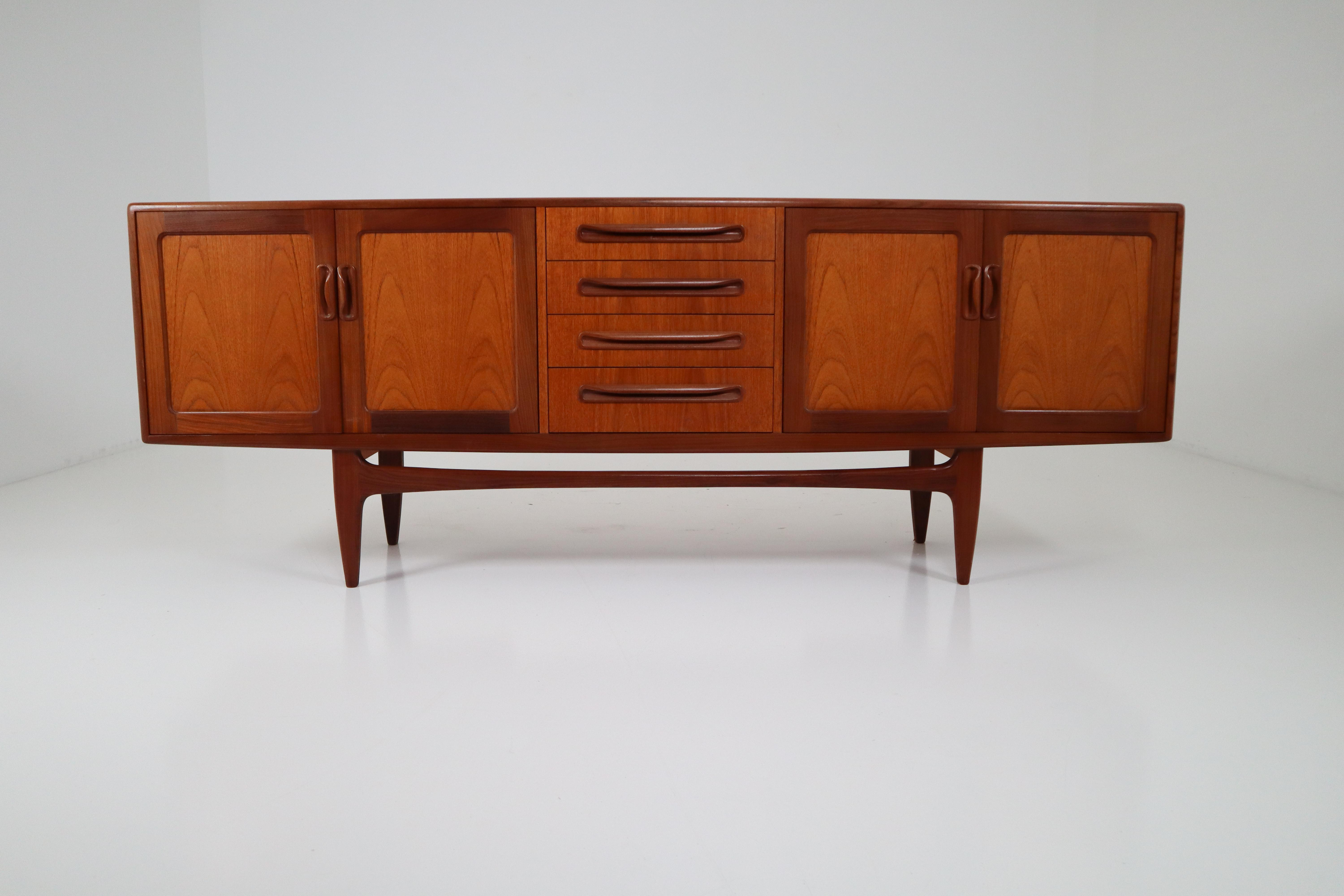 Well Liked Mid Century Modern Teak Credenza Or Sideboardkofod Larsen Within 4 Door Wood Squares Sideboards (View 20 of 20)