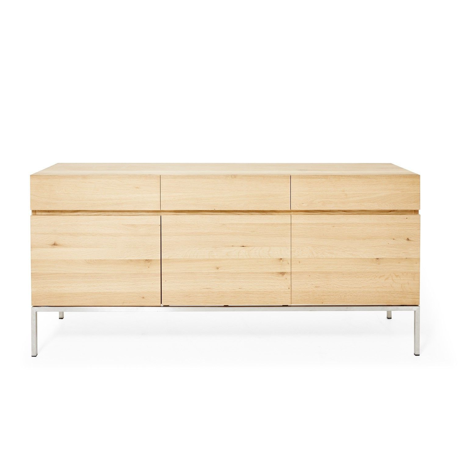 Well Liked Oil Pale Finish 3 Door Sideboards Intended For Natural Grain & Steel Sideboards At Abc Home & Carpet (Gallery 13 of 20)