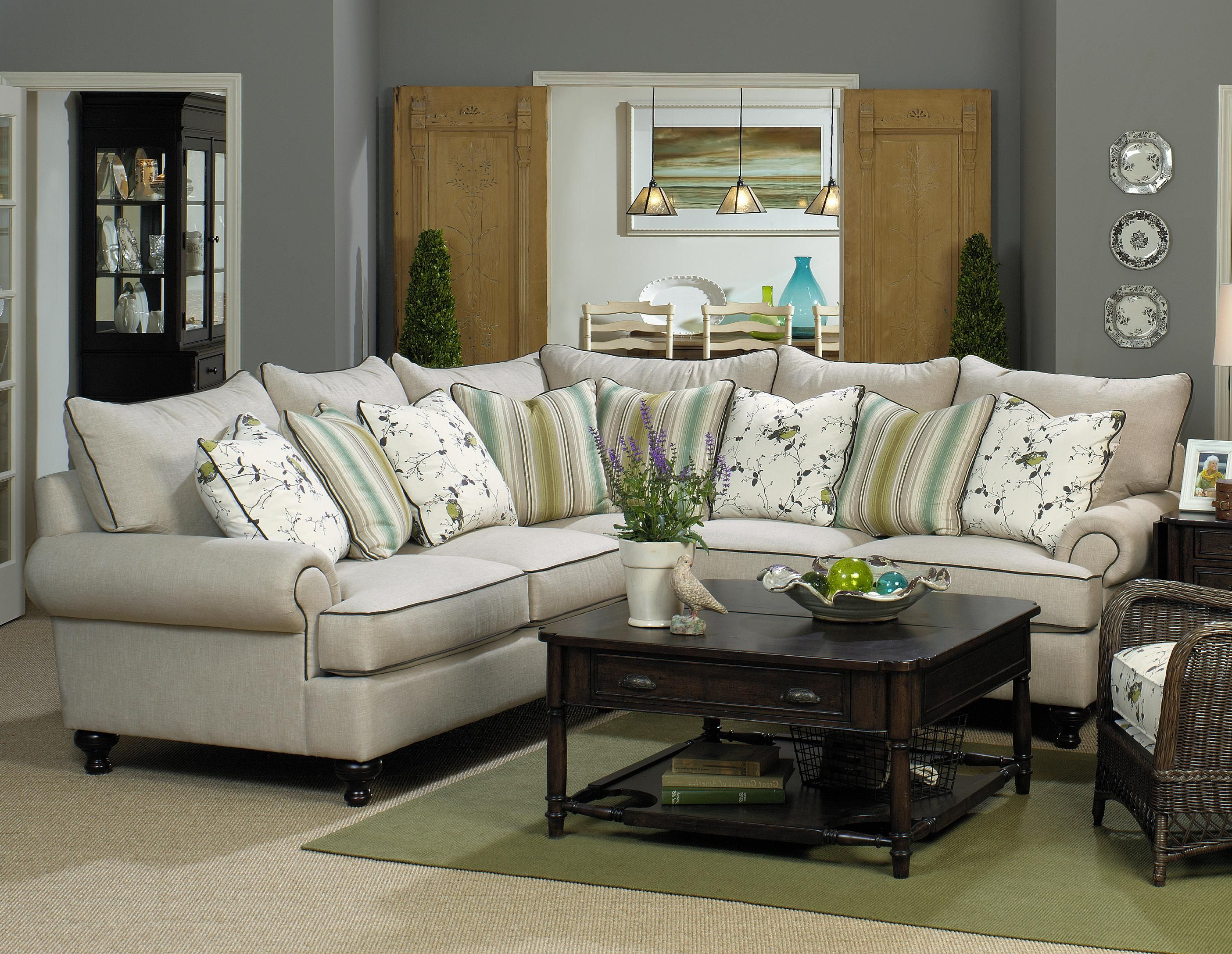 Well Liked Paula Deen Home 2 Piece Sectional Sofapaula Deenuniversal Pertaining To Blaine 4 Piece Sectionals (View 17 of 20)