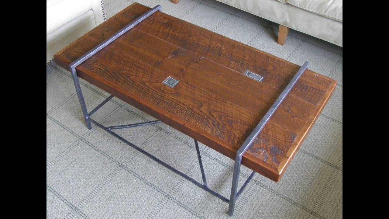 Well Liked Reclaimed Pine & Iron Coffee Tables Throughout Reclaimed Wood Coffee Table Top With Metal Base – Youtube (View 18 of 20)
