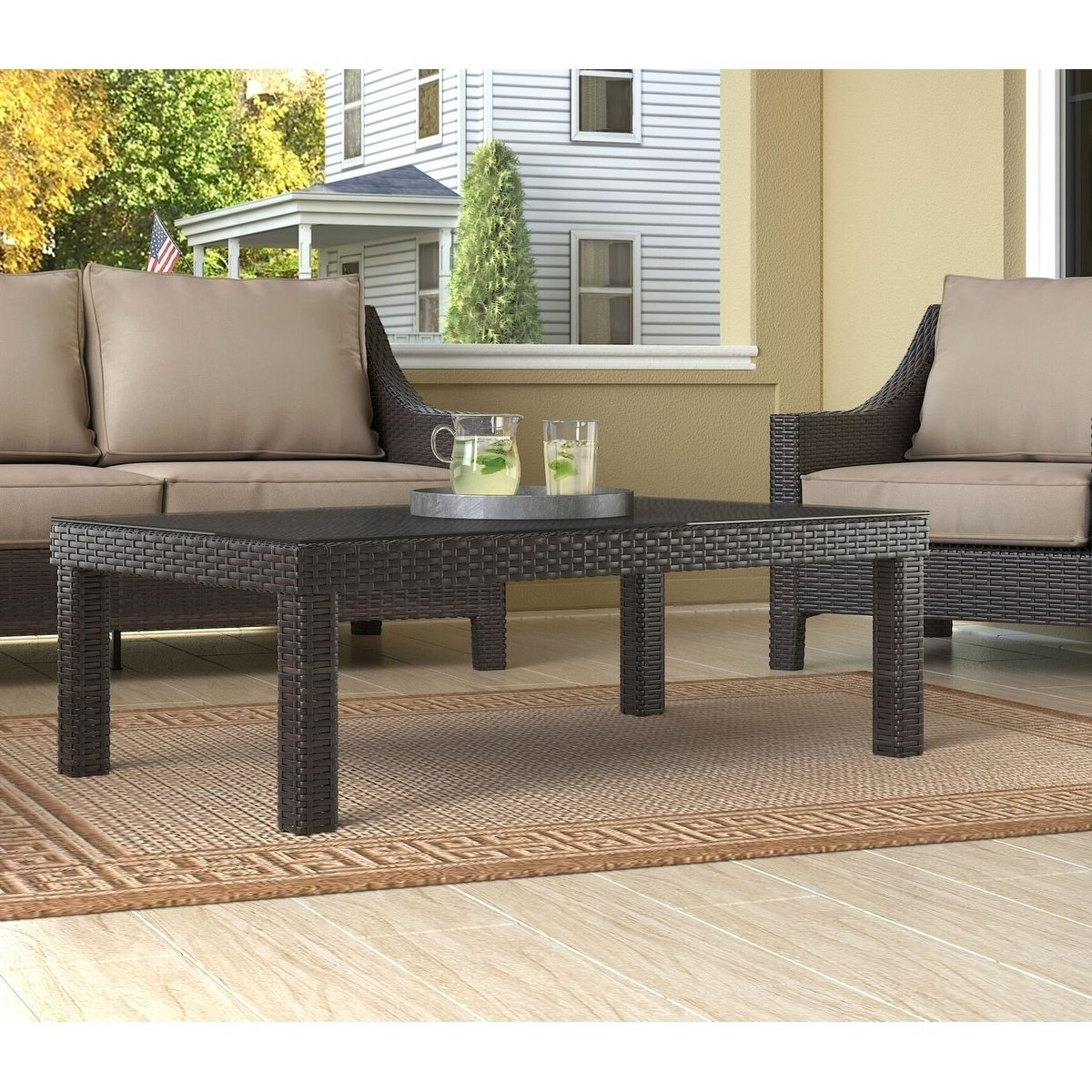 Well Liked Shop Serta Tahoe Outdoor Coffee Table, Terra Brown Wicker – Free With Regard To Tahoe Ii Cocktail Tables (View 14 of 20)