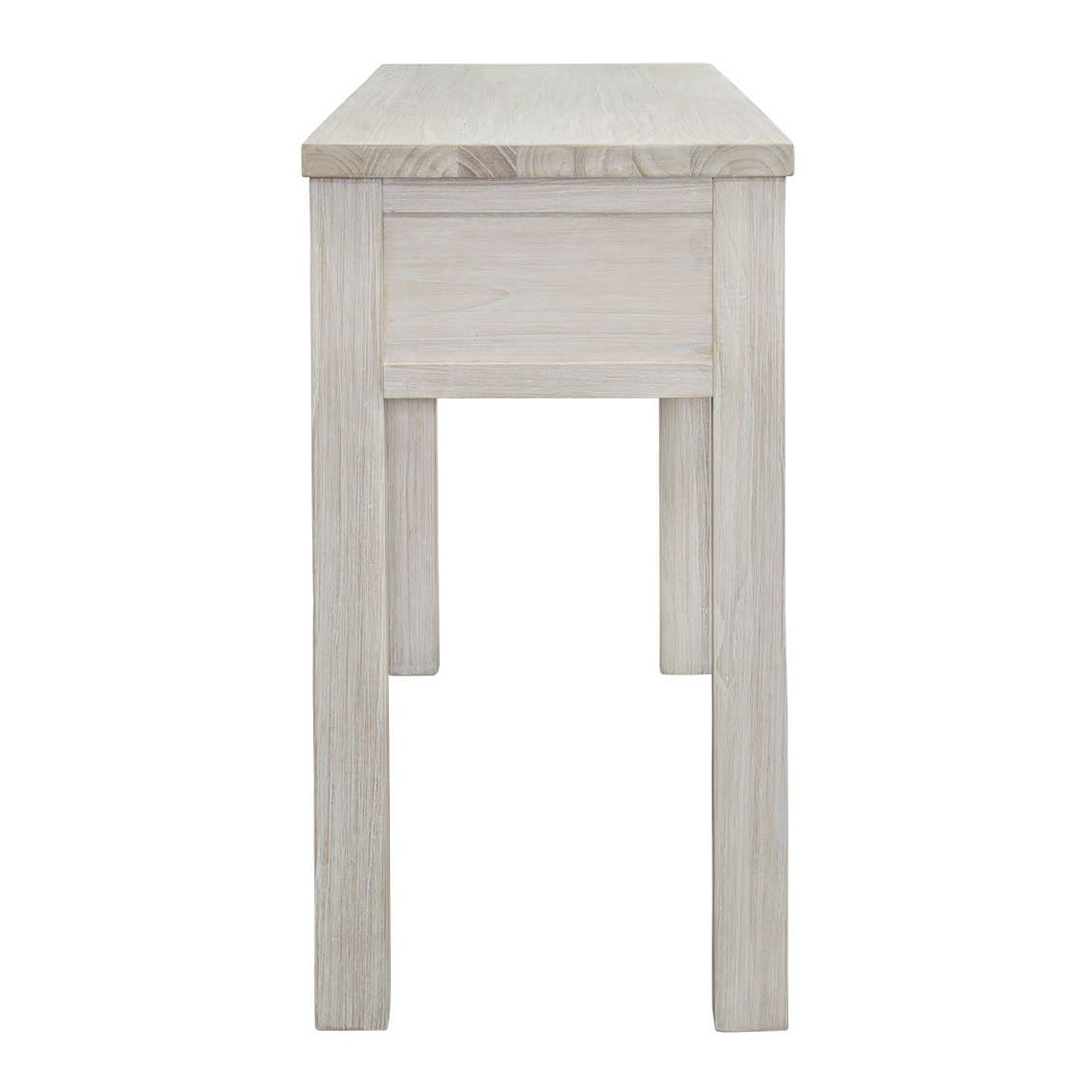Well Liked White Wash 2 Drawer/1 Door Coffee Tables With Cancun Console Table (View 16 of 20)