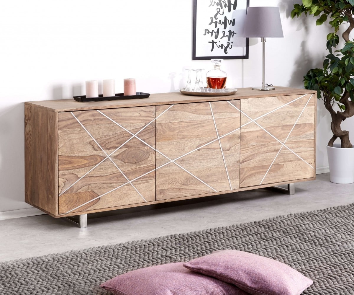 Well Liked Wyatt Sideboards Inside Delife Designer Sideboard Wyatt 175 Cm Sheesham Natur 3 Türen (View 18 of 20)