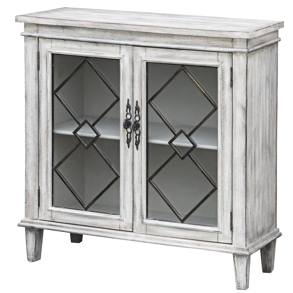 White Wash 2 Door Sideboards With Regard To Current Lindsey White Wash Wood Breakfront Textured 2 Door Sideboard – Style (View 6 of 20)