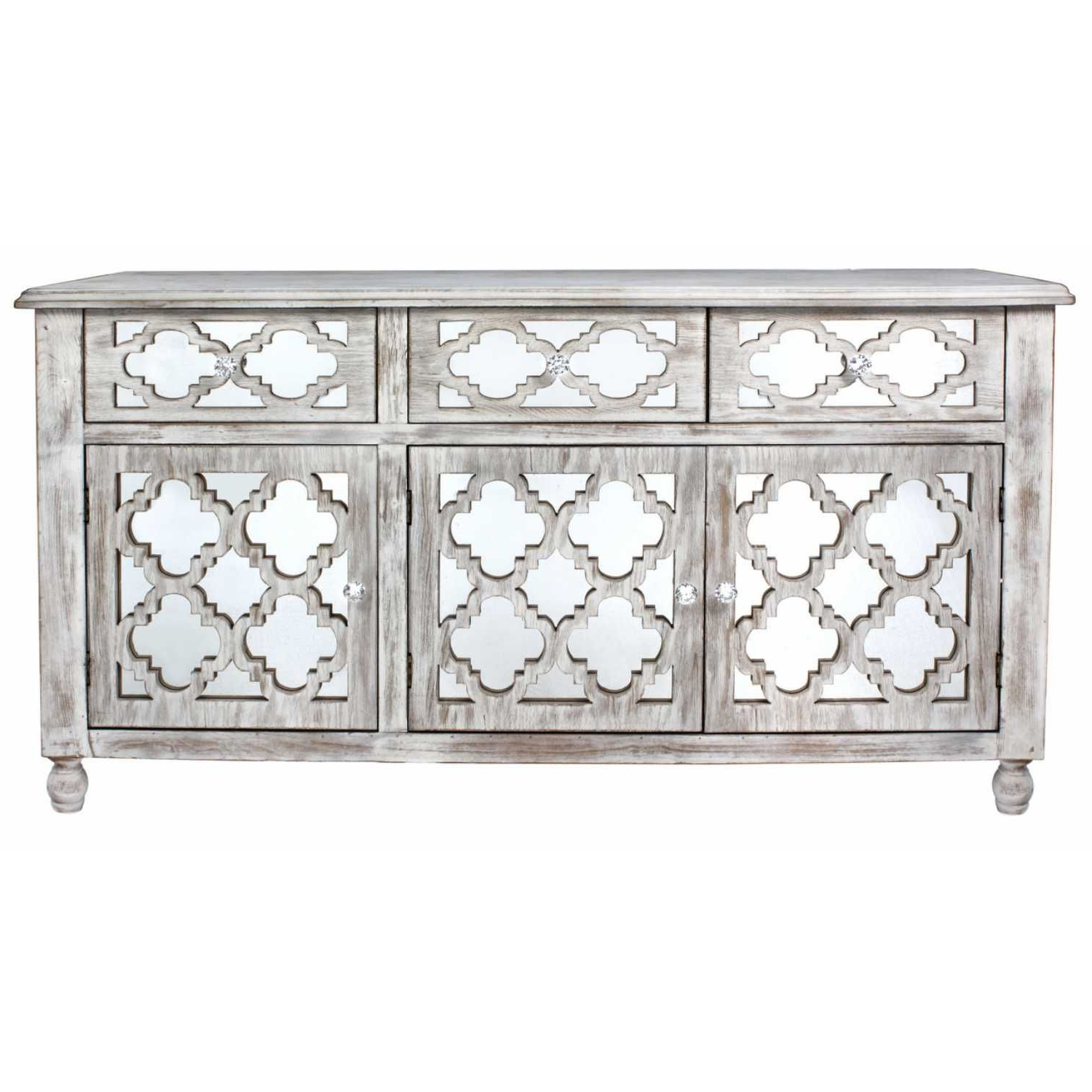 White Wash 3 Door 3 Drawer Sideboards In Latest Marrakech Washed Ash Modern Mirrored Glass 3 Door 3 Drawer Cabinet (View 14 of 20)