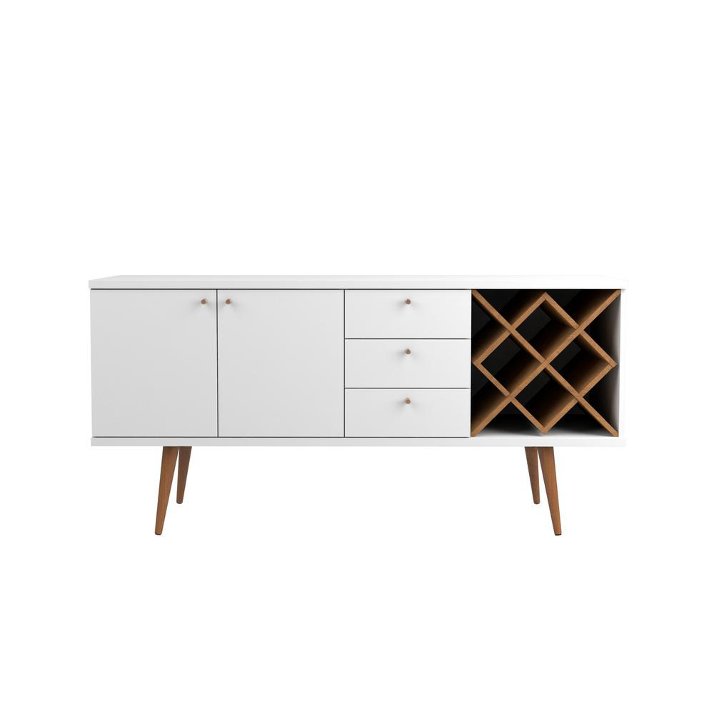 White Wash 3 Door 3 Drawer Sideboards Intended For 2018 Manhattan Comfort Utopia 4 Bottle White Gloss And Maple Cream Wine Rack  Sideboard Buffet Stand With 3 Drawers And 2 Shelves (View 16 of 20)