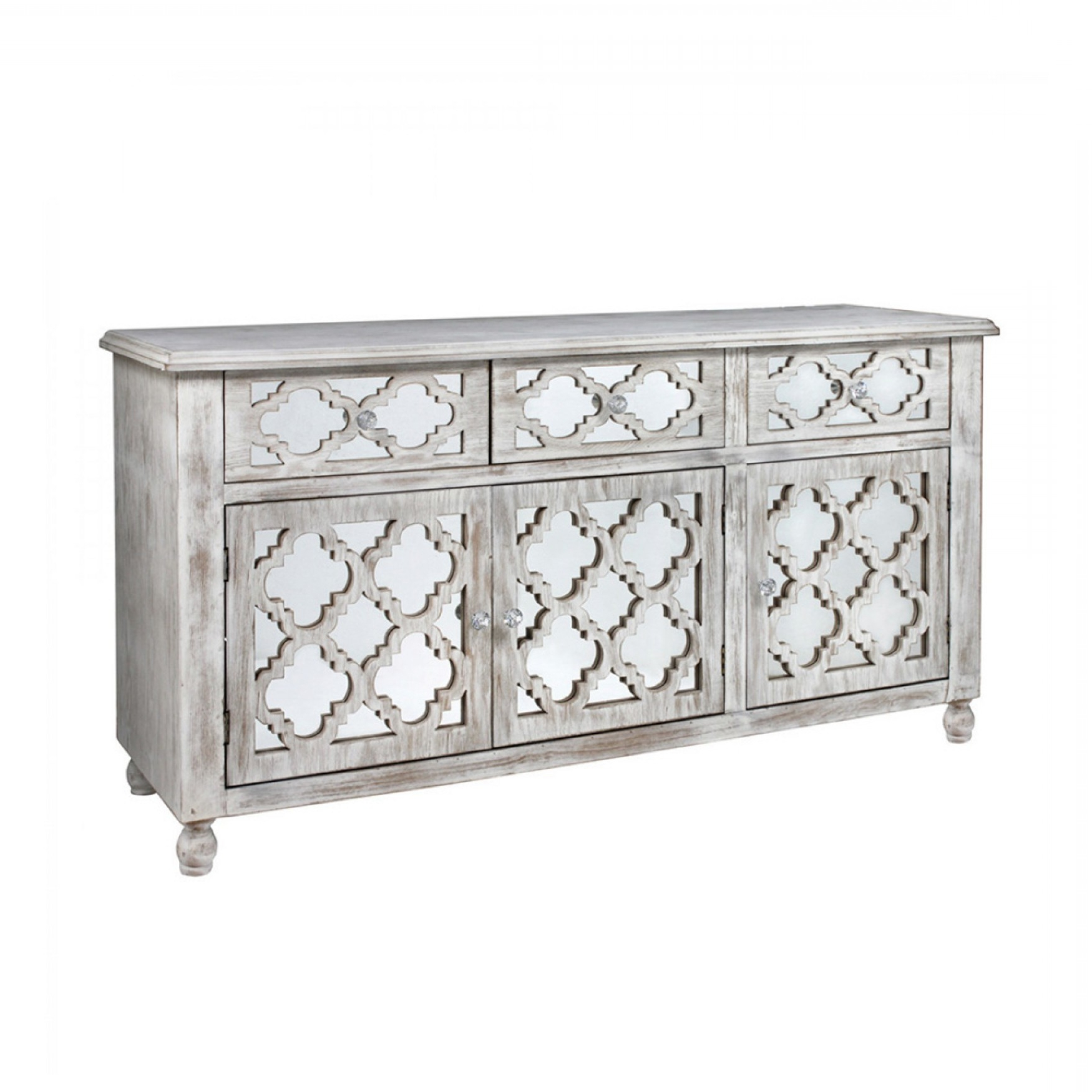 White Wash 3 Door 3 Drawer Sideboards Pertaining To Well Known Hampton Beach 3 Door 3 Drawer Cabinet Washed Ash And Mirror (View 17 of 20)