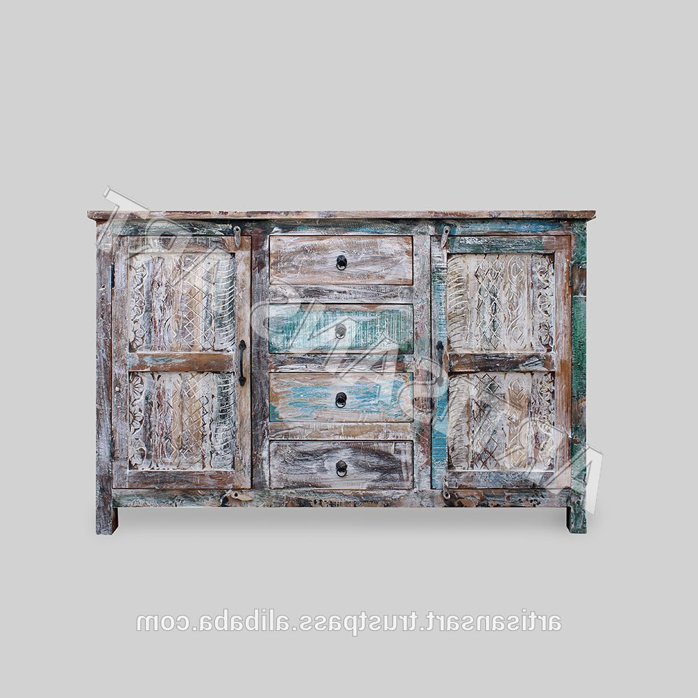 Whitewashed Reclaimed Wood 2 Door 4 Drawer Sideboard,hand Finished Inside Current 3 Drawer/2 Door White Wash Sideboards (View 13 of 20)