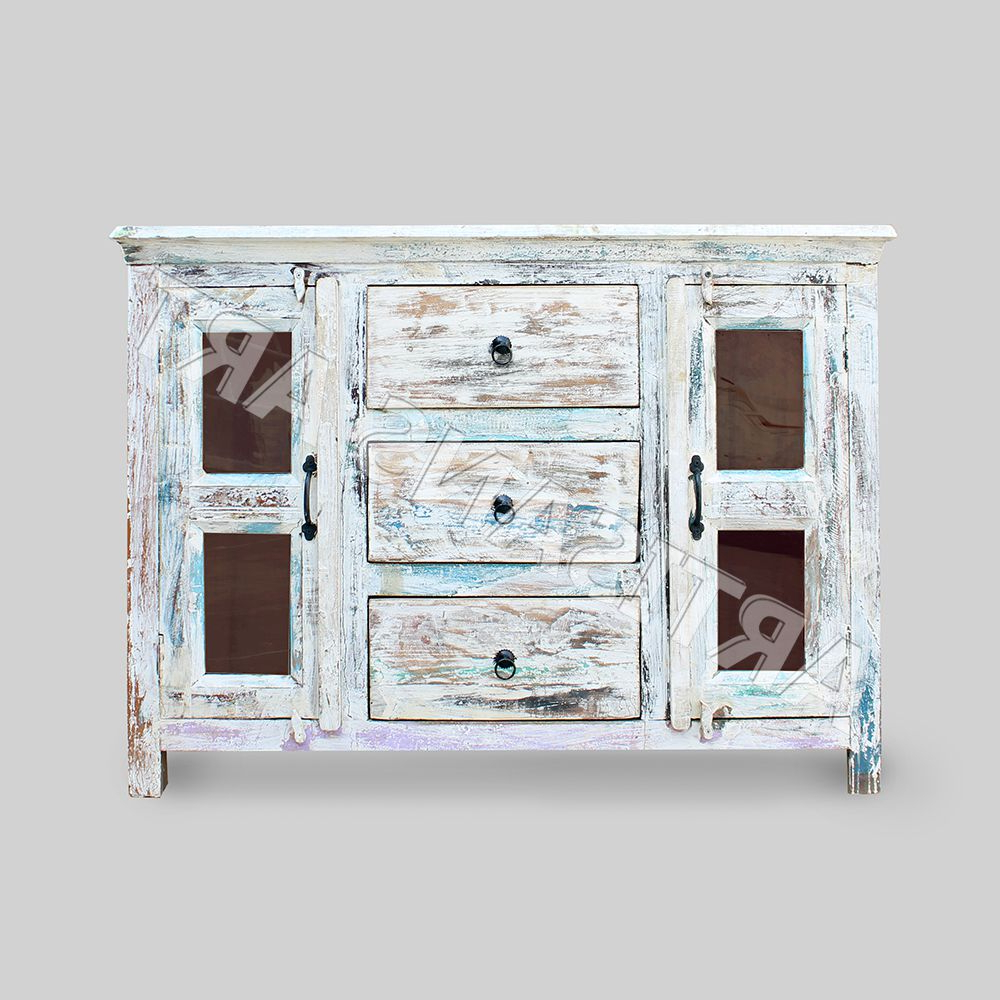 Widely Used 3 Drawer/2 Door White Wash Sideboards Within Whitewashed Reclaimed 2 Glass Door 3 Drawer Sideboard,hand Finished (Gallery 9 of 20)
