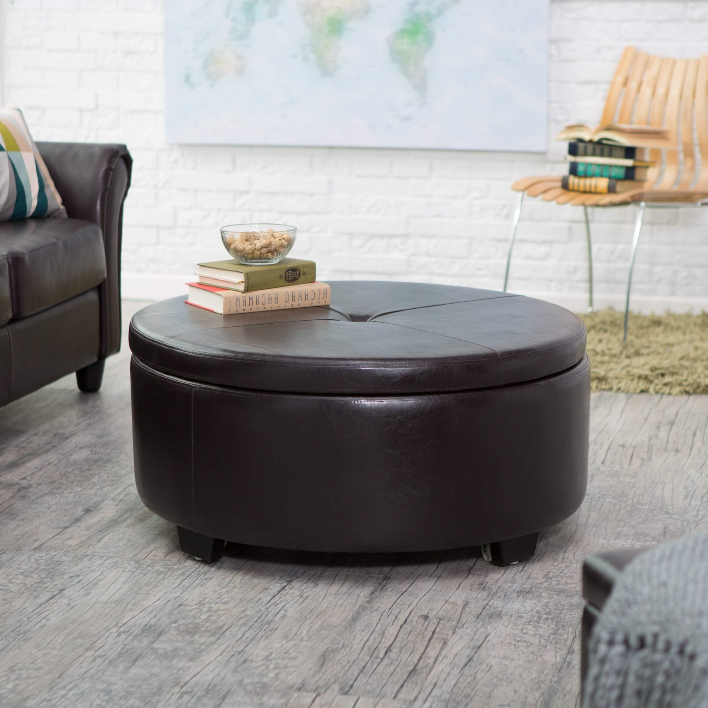 Widely Used 36 Top Brown Leather Ottoman Coffee Tables Pertaining To Round Button Tufted Coffee Tables (View 2 of 20)