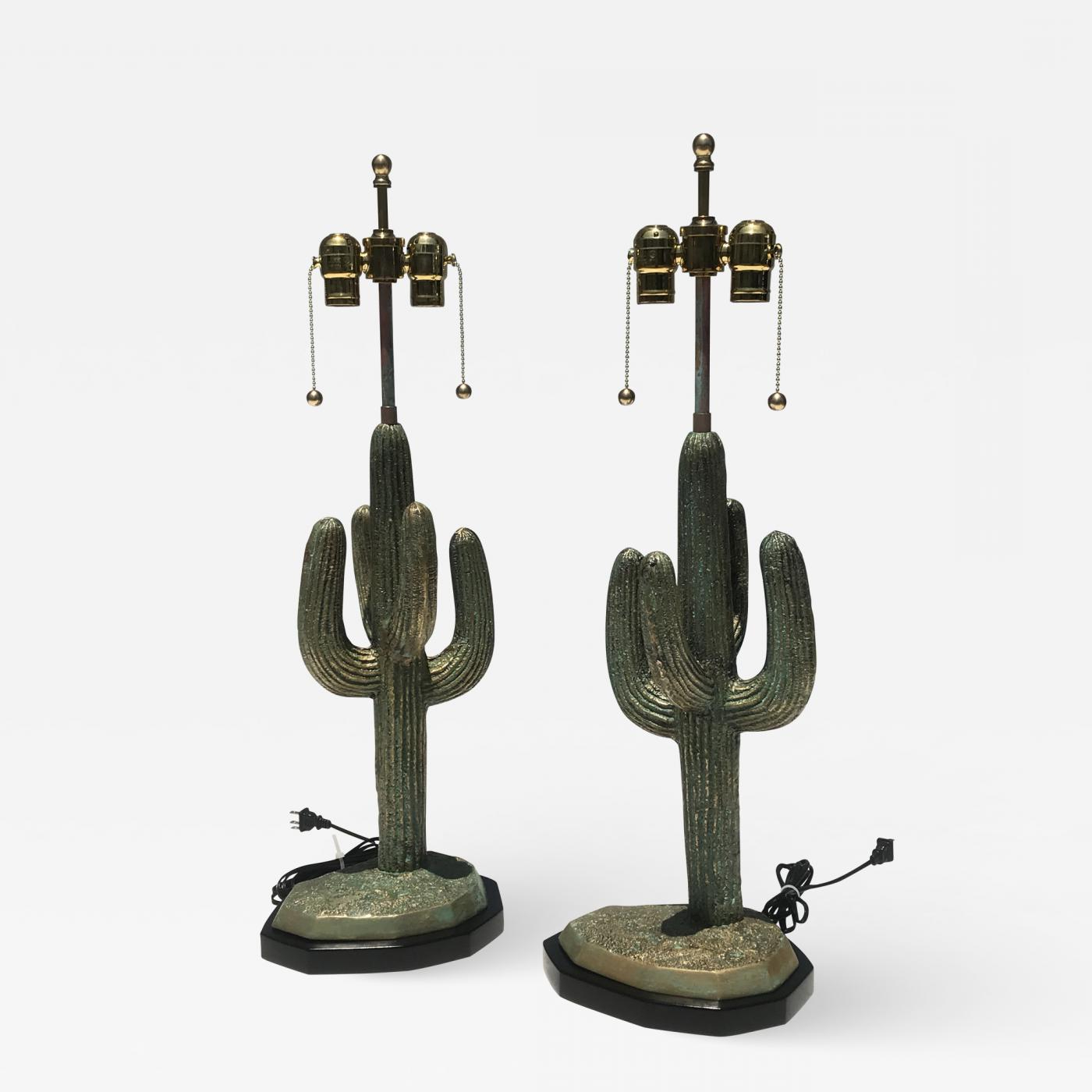 Widely Used Alain Chervet – Pair Brass Cactus Lamps In Verdigris Patina Within Cacti Brass Coffee Tables (View 19 of 20)