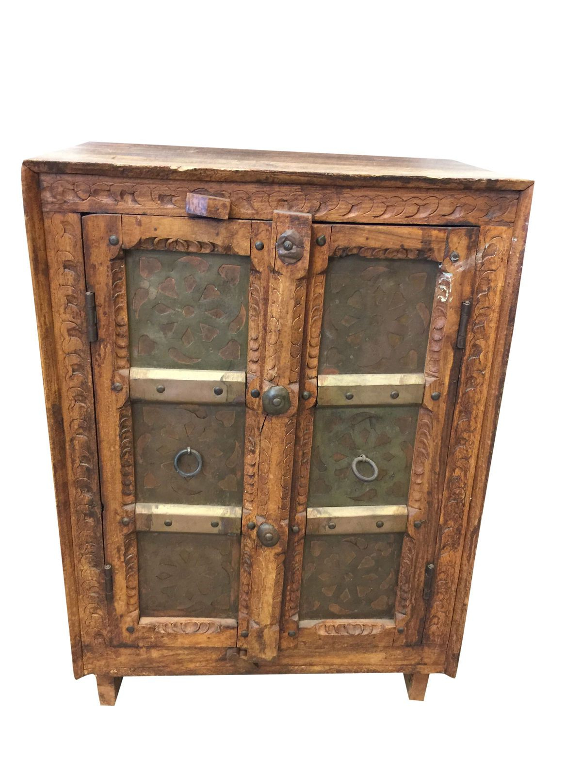 Widely Used Antique Carved Cabinet Side Table Kitchen Vintage Brass Moroccan For Aged Brass Sideboards (View 11 of 20)