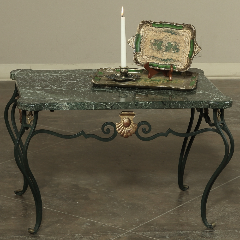 Widely Used Antique Italian Wrought Iron Marble Top Coffee Table – Inessa Intended For Iron Marble Coffee Tables (Gallery 4 of 20)
