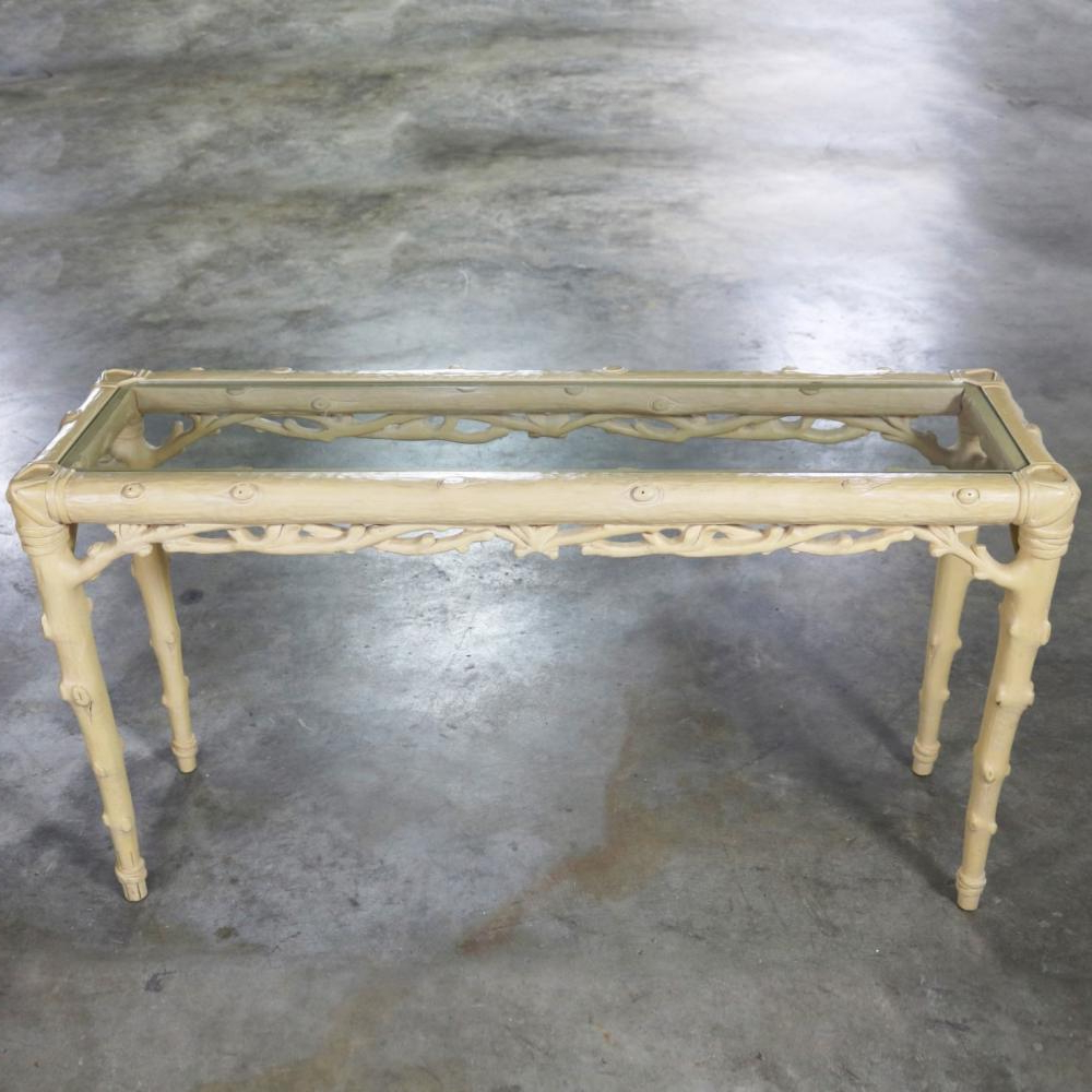 Widely Used Faux Bois Coffee Tables For Carved Wood Faux Bois Sofa Console Table With Ivory Painted (View 11 of 20)