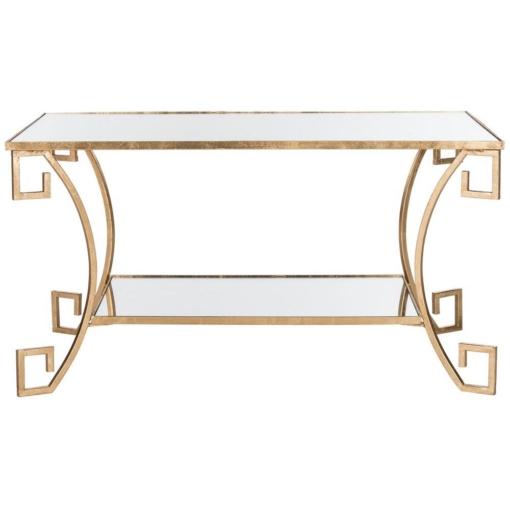 Widely Used Gold Leaf Collection Coffee Tables For Safavieh Yasemeen Antique Gold Leaf Coffee Table Fox2572a – The Home (View 16 of 20)