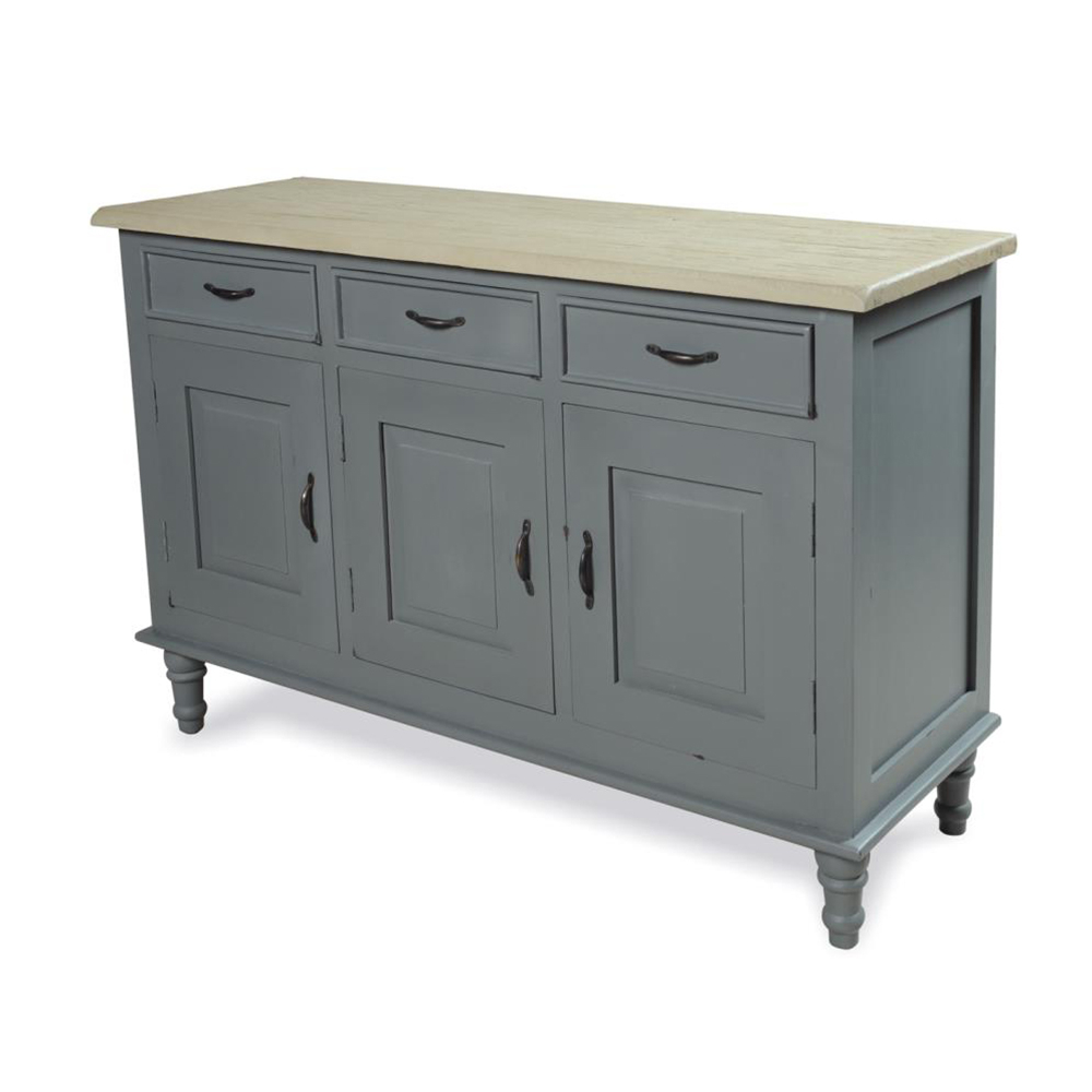 Widely Used Inadam Furniture – Sideboard 3 Door 3 Drawer – Chic Dark Grey Regarding Industrial 3 Drawer 3 Door Sideboards (View 2 of 20)
