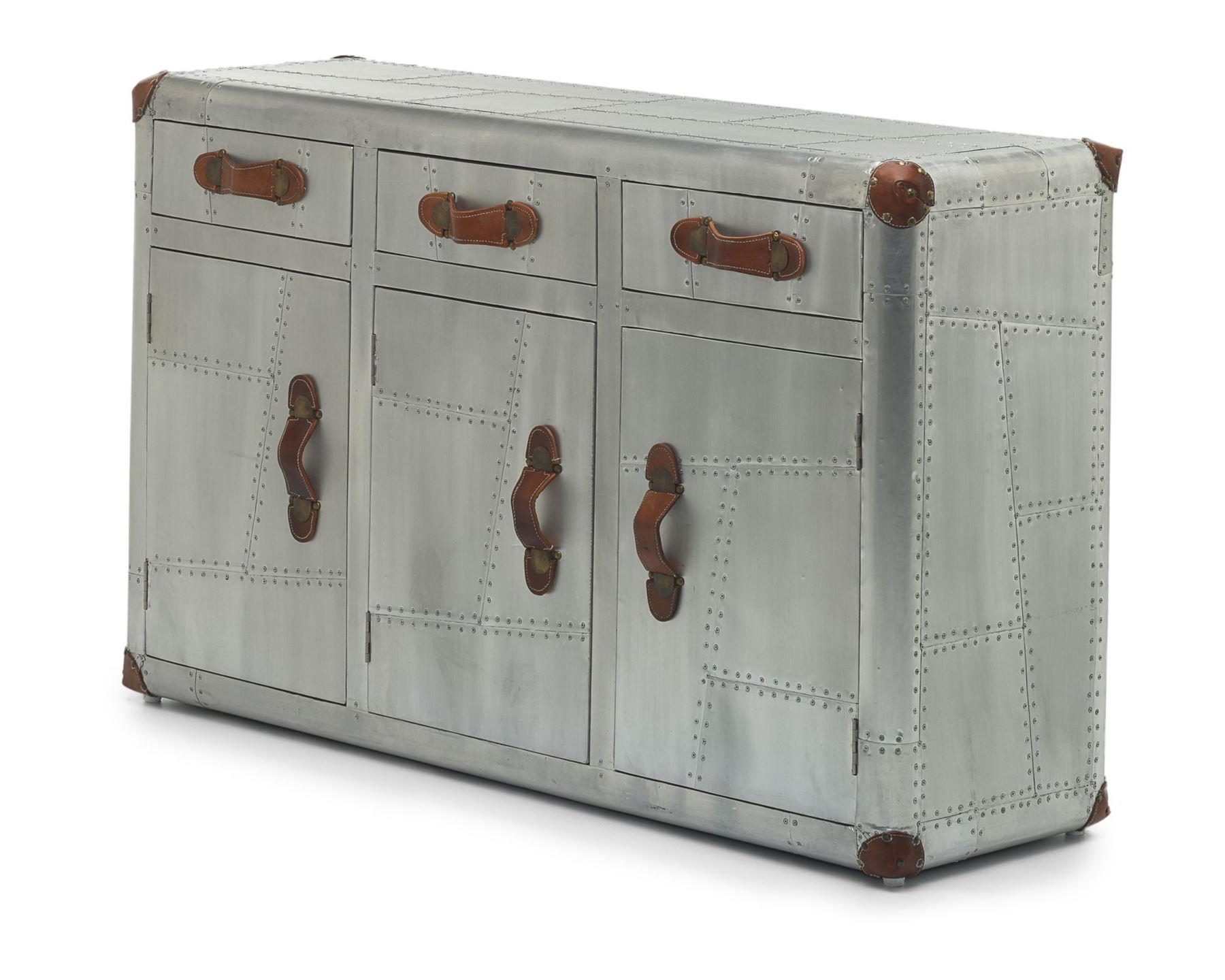 Widely Used Industrial 3 Drawer 3 Door Sideboards Intended For Aviator 3 Door Sideboard – Aviation Inspired Design – Industrial (Gallery 8 of 20)
