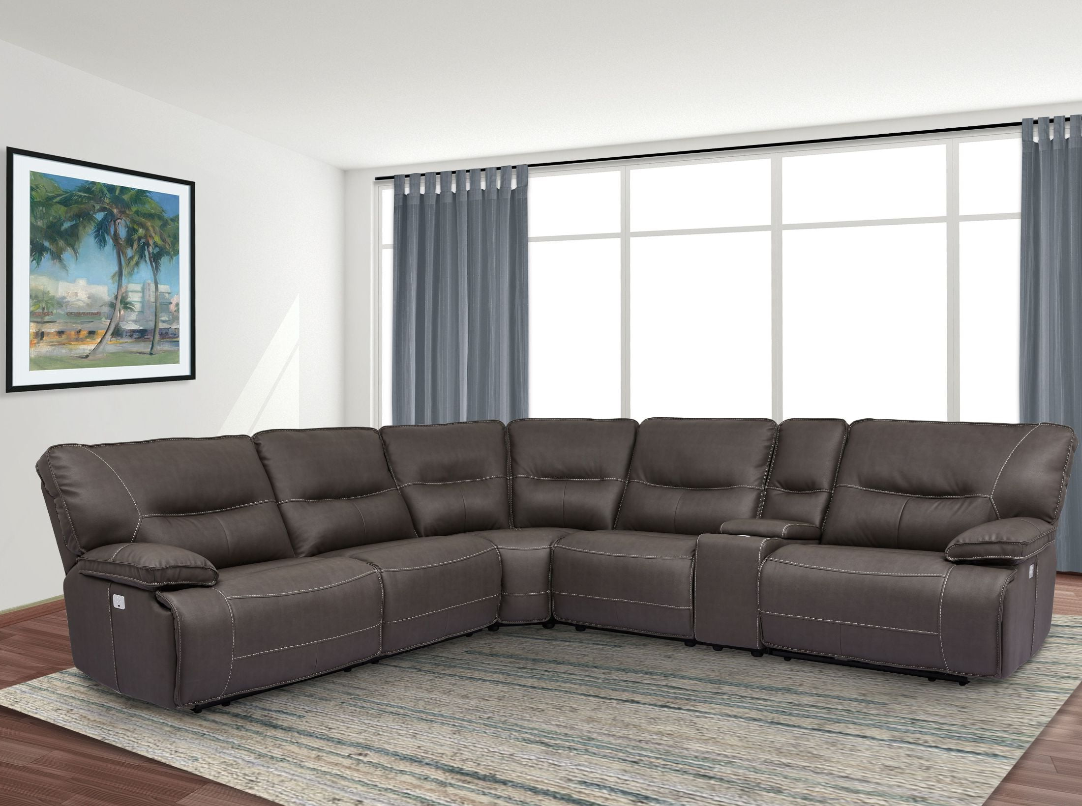 Widely Used Lavena Chocolate Sectional From Furniture Of America (Cm6453Dk Pk Regarding Marcus Grey 6 Piece Sectionals With  Power Headrest & Usb (View 20 of 20)