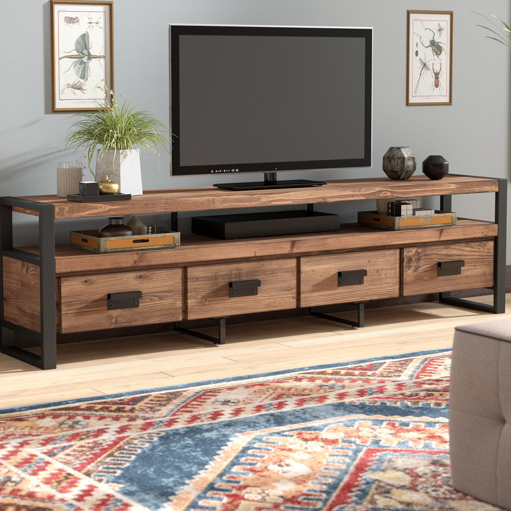 "Widely Used Light Brown Reclaimed Elm & Pine 84 Inch Sideboards Regarding Union Rustic Kylee Tv Stand For Tvs Up To 78"" & Reviews (View 11 of 20)"