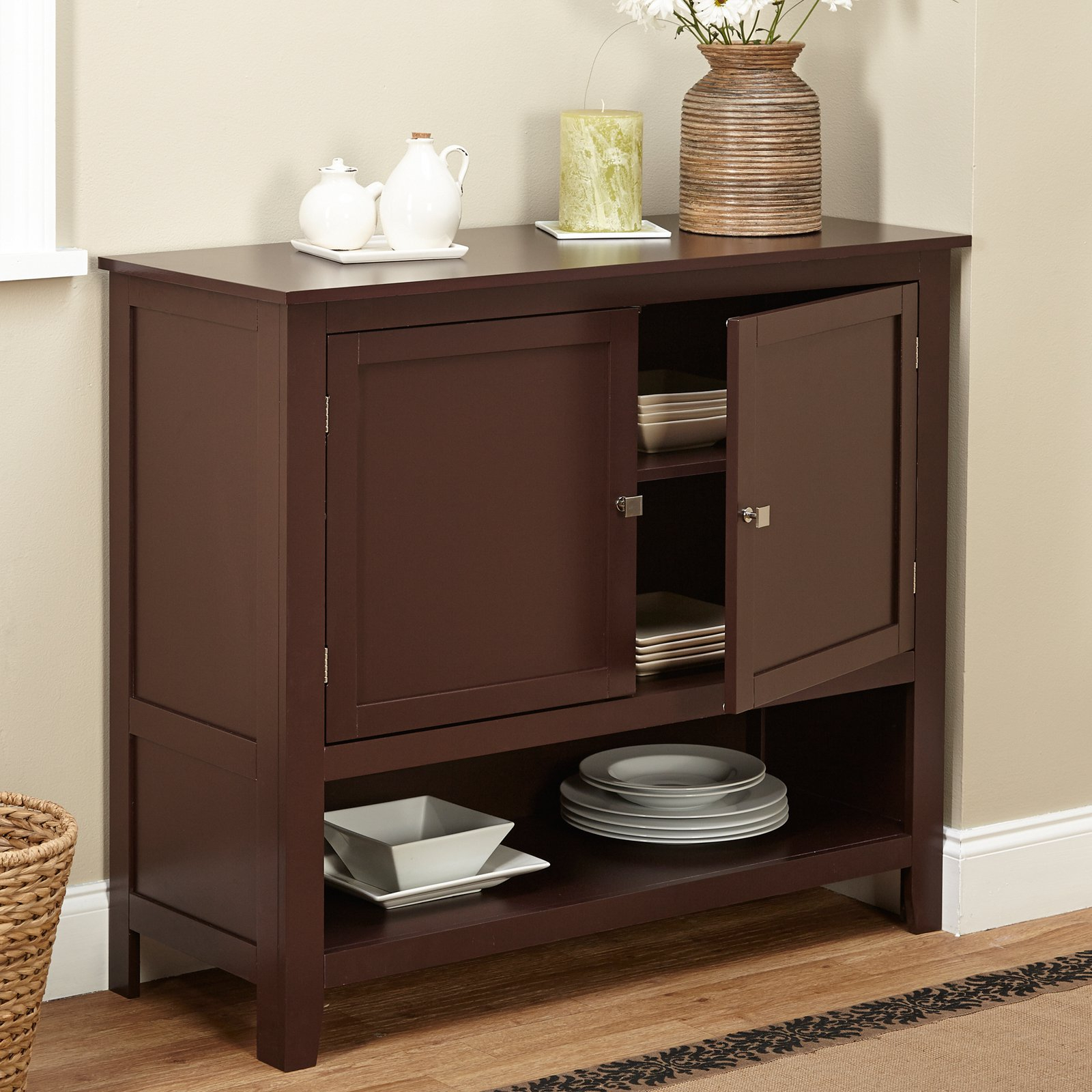 Widely Used Montego Espresso Wooden Buffet – Walmart For Palazzo 87 Inch Sideboards (View 20 of 20)