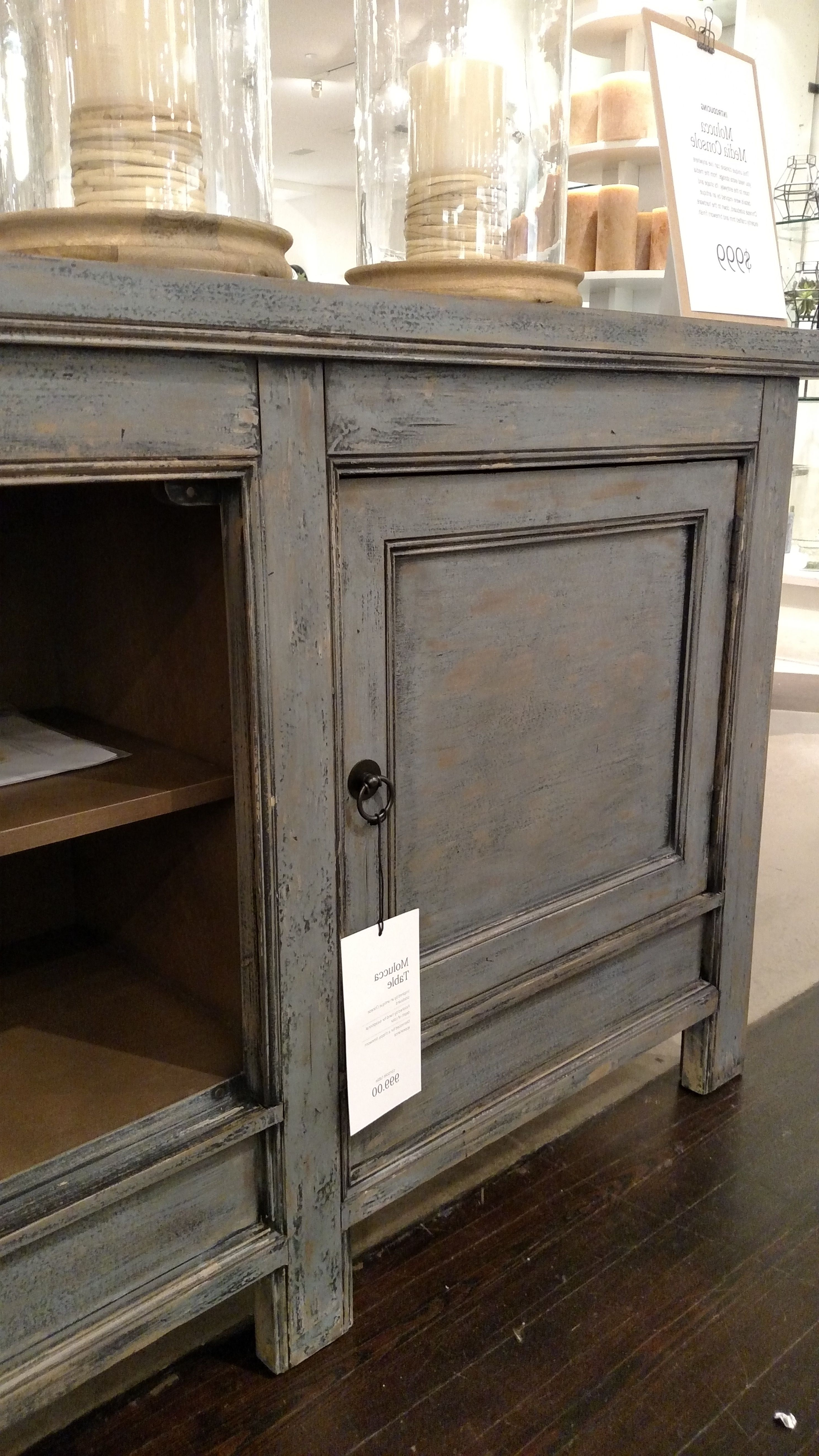 Widely Used Pottery Barn Molucca Media Console Table Cabinet Buffet Sideboard With Rustic Black & Zebra Pine Sideboards (View 14 of 20)