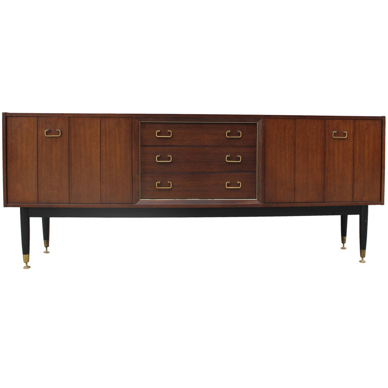 Widely Used Walnut Finish Contempo Sideboards Regarding Mid Century Modern Walnut Sideboard With Brass Hardware For Sale At (View 20 of 20)