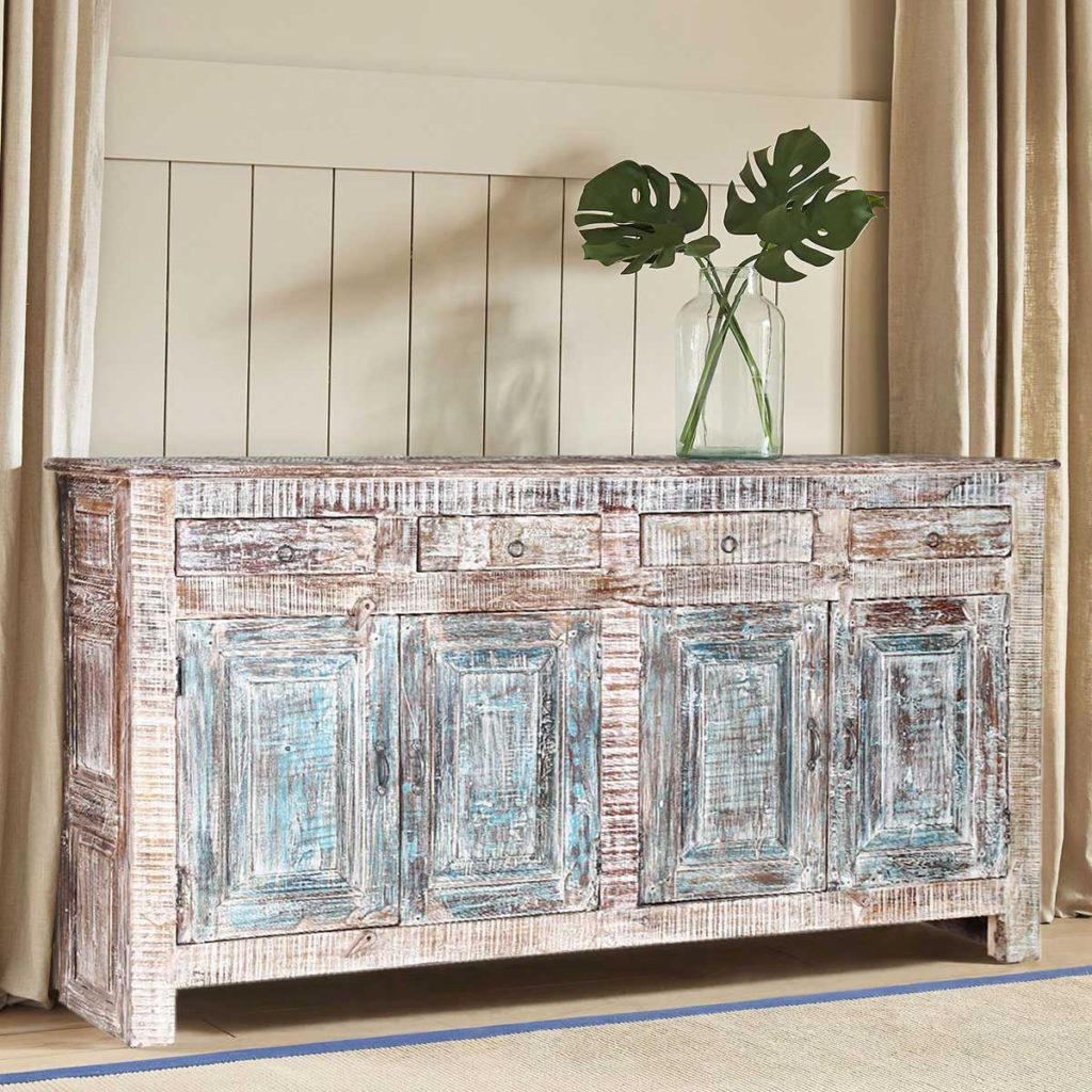 Winter White Rustic Reclaimed Wood 4 Drawer (View 13 of 20)