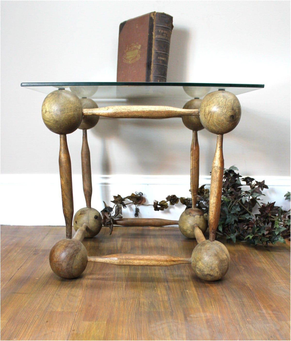 Wooden Ball And Spindle Cube Hand Made End Coffee Table Old Finish Within Current Aged Iron Cube Tables (View 20 of 20)
