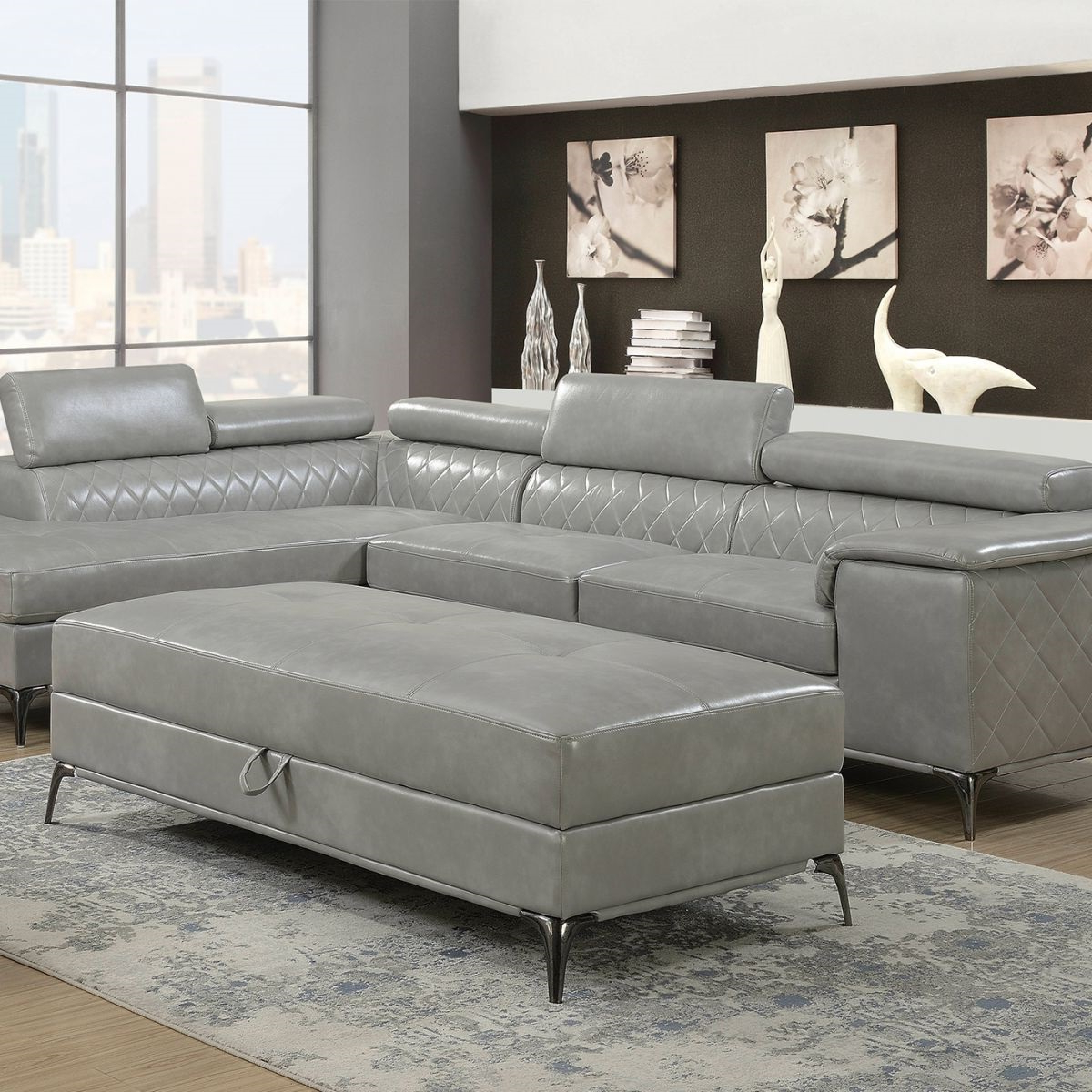 Worthington Grey 2 Pc Sectional & Ottoman (View 20 of 20)