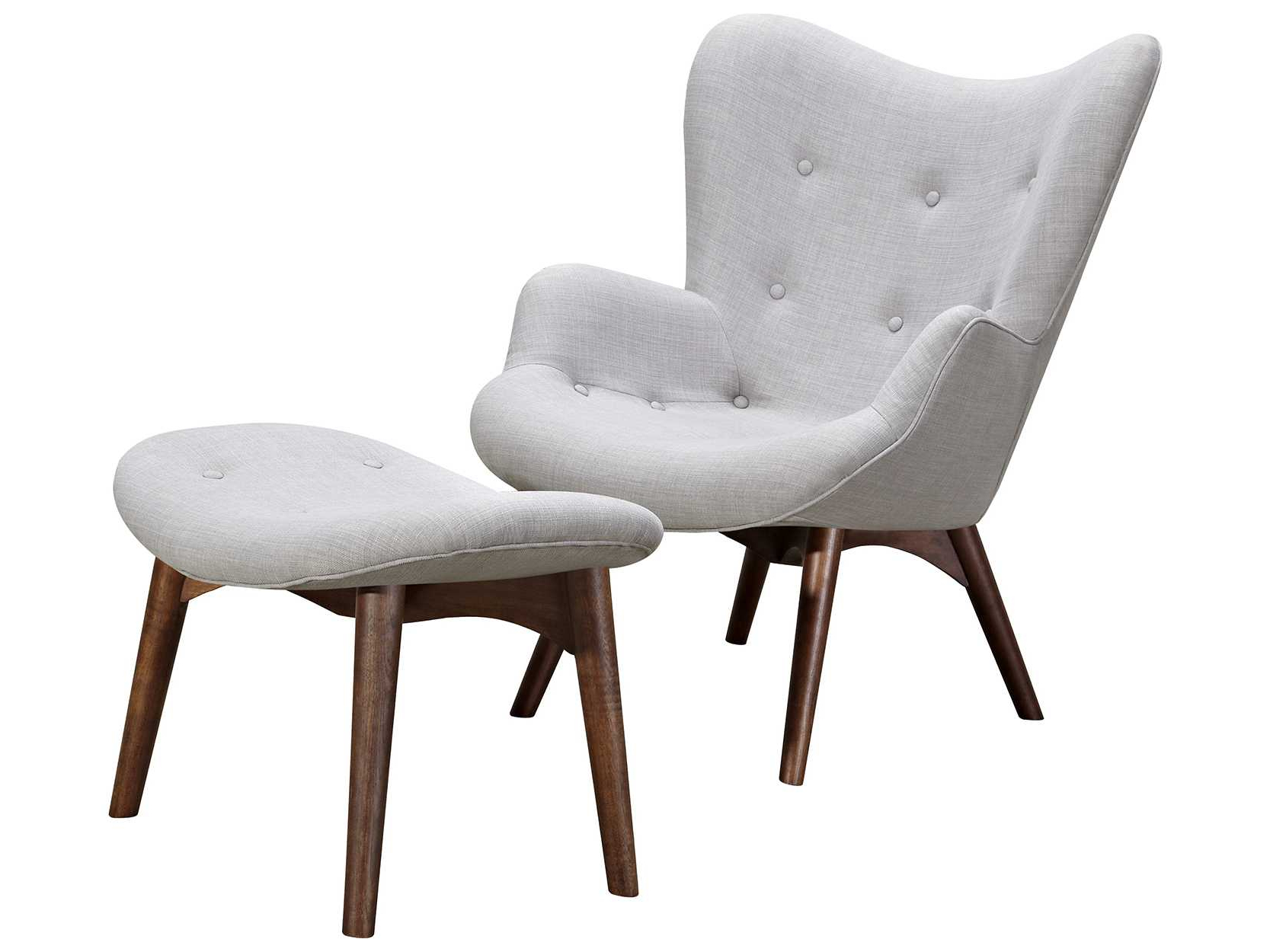 2018 Aidan Ii Swivel Accent Chairs Throughout Nyekoncept Aiden Glacier White Accent Chair & Ottoman With Walnut (View 5 of 20)