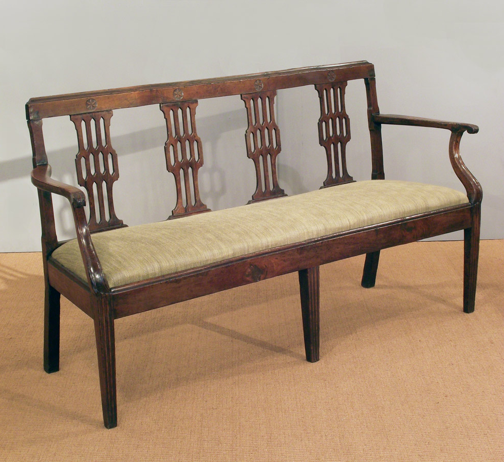 2018 Antique French Cherry Wood Settee, Antique Bench, Antique Sofa Pertaining To Antique Sofa Chairs (View 18 of 20)