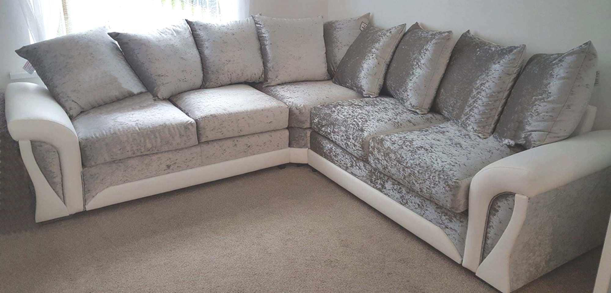 2018 Corner Sofa And Swivel Chairs With Regard To Shannon Corner Sofa Crushed Velvet Fabric White Silver 3+2 Seater (Gallery 12 of 20)