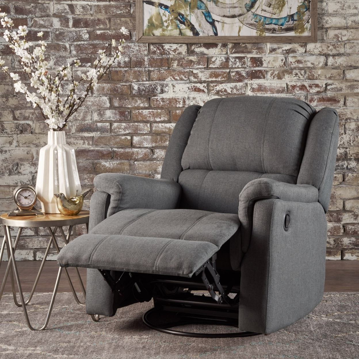2018 Decker Ii Fabric Swivel Glider Recliners Inside Jemma Tufted Fabric Swivel Gliding Recliner Chair In Living Room (View 2 of 20)
