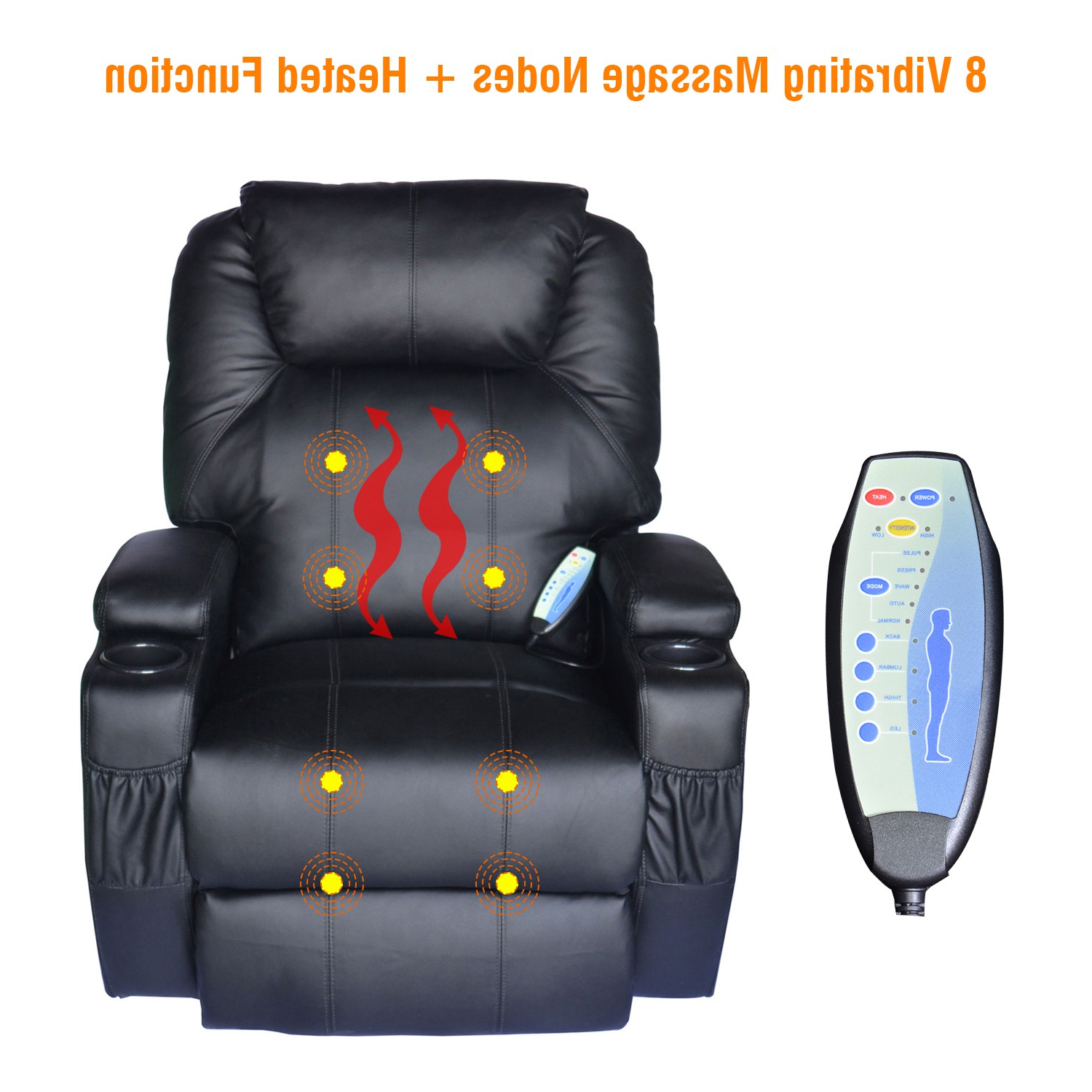 2018 Foot Massage Sofa Chairs With Regard To Deluxe Electric Heated Massage Sofa Adjustable Reclining Chair (View 1 of 20)