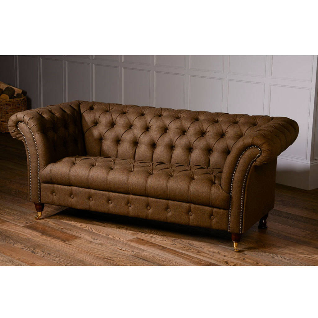 2018 Harris Tweed Or Vintage Leather Chesterfield Sofathe Orchard Within Chesterfield Sofa And Chairs (Gallery 11 of 20)