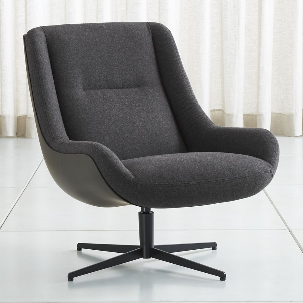 2018 Lovebird Charcoal Swivel Chair In  (View 1 of 20)
