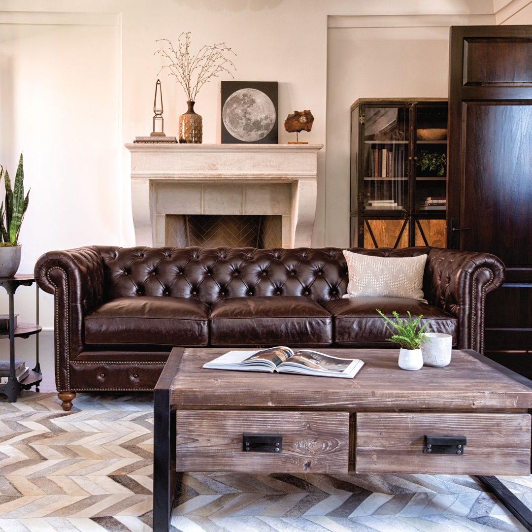 2018 Mansfield Cocoa Leather Sofa Chairs With Mansfield 96 Inch Cocoa Leather Sofa In  (View 1 of 20)