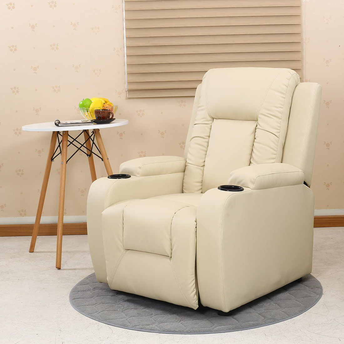 2018 Oscar Leather Recliner W Drink Holders Armchair Sofa Chair Reclining Throughout Sofa Chair Recliner (Gallery 13 of 20)