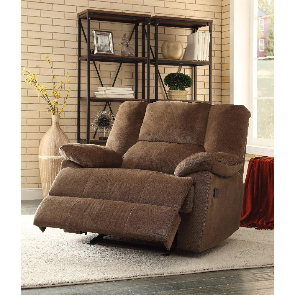 2018 Oversized Glider Recliner, Chocolate Corduroy With Regard To Hercules Chocolate Swivel Glider Recliners (View 8 of 20)