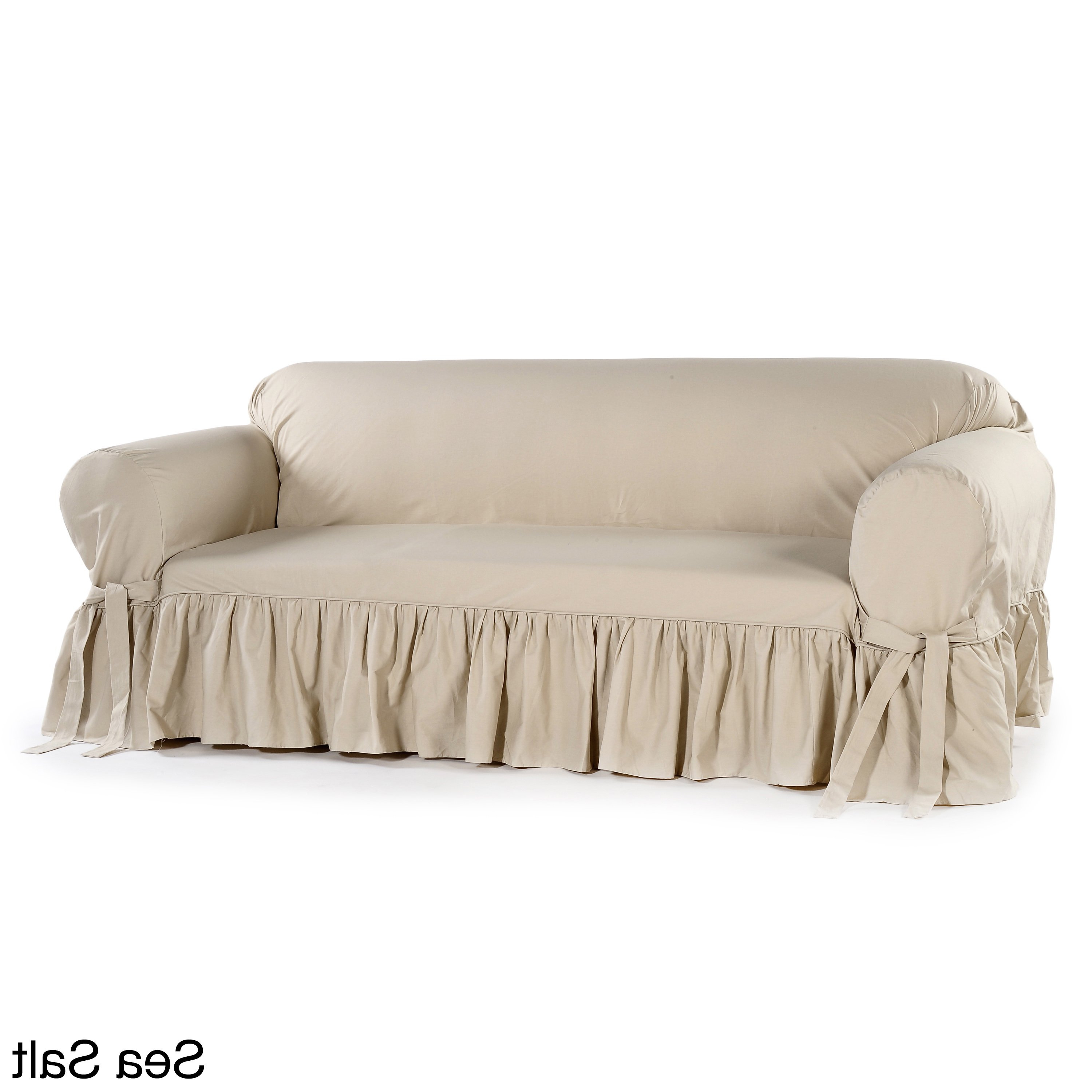 2018 Slipcovers For Chairs And Sofas With Regard To Shop Ruffled Cotton Loveseat Slipcover – Free Shipping Today (View 1 of 20)