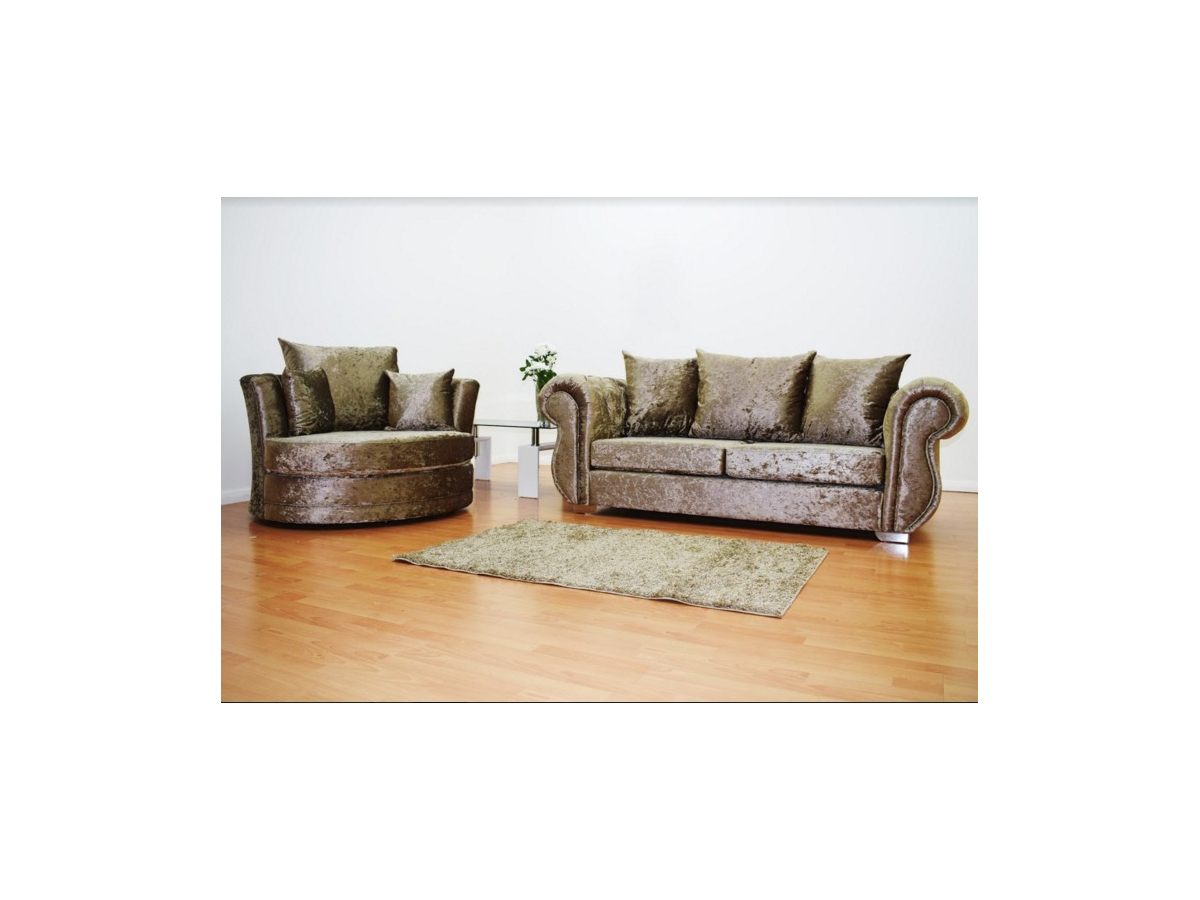2019 3 Seater Sofa And Cuddle Chairs With Windsor Crushed Velvet 3 Seater Sofa And Cuddle Love Chair In Truffle (View 1 of 20)