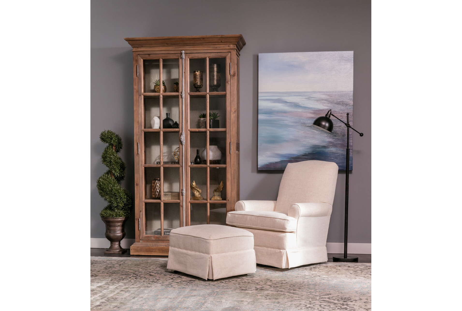 2019 Bailey Skirted Glider Ottoman Pertaining To Bailey Roll Arm Skirted Swivel Gliders (View 1 of 20)
