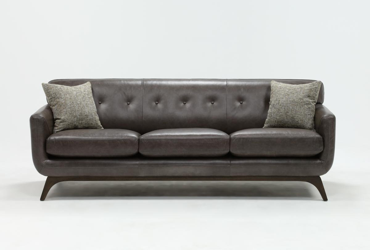 2019 Caressa Leather Dark Grey Sofa Chairs Throughout Cosette Leather Sofa (Gallery 6 of 20)