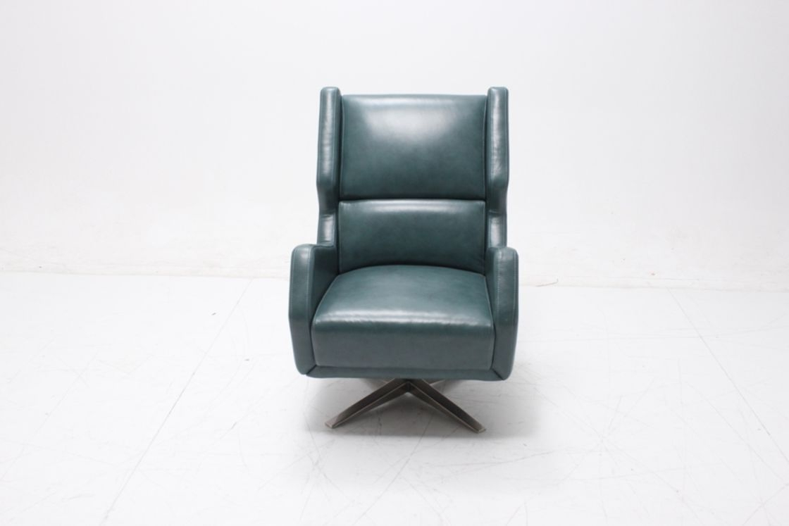 2019 Dark Blue Gel Leather Swivel Accent Chair Upholstered For Living Room Within Harbor Grey Swivel Accent Chairs (View 1 of 20)