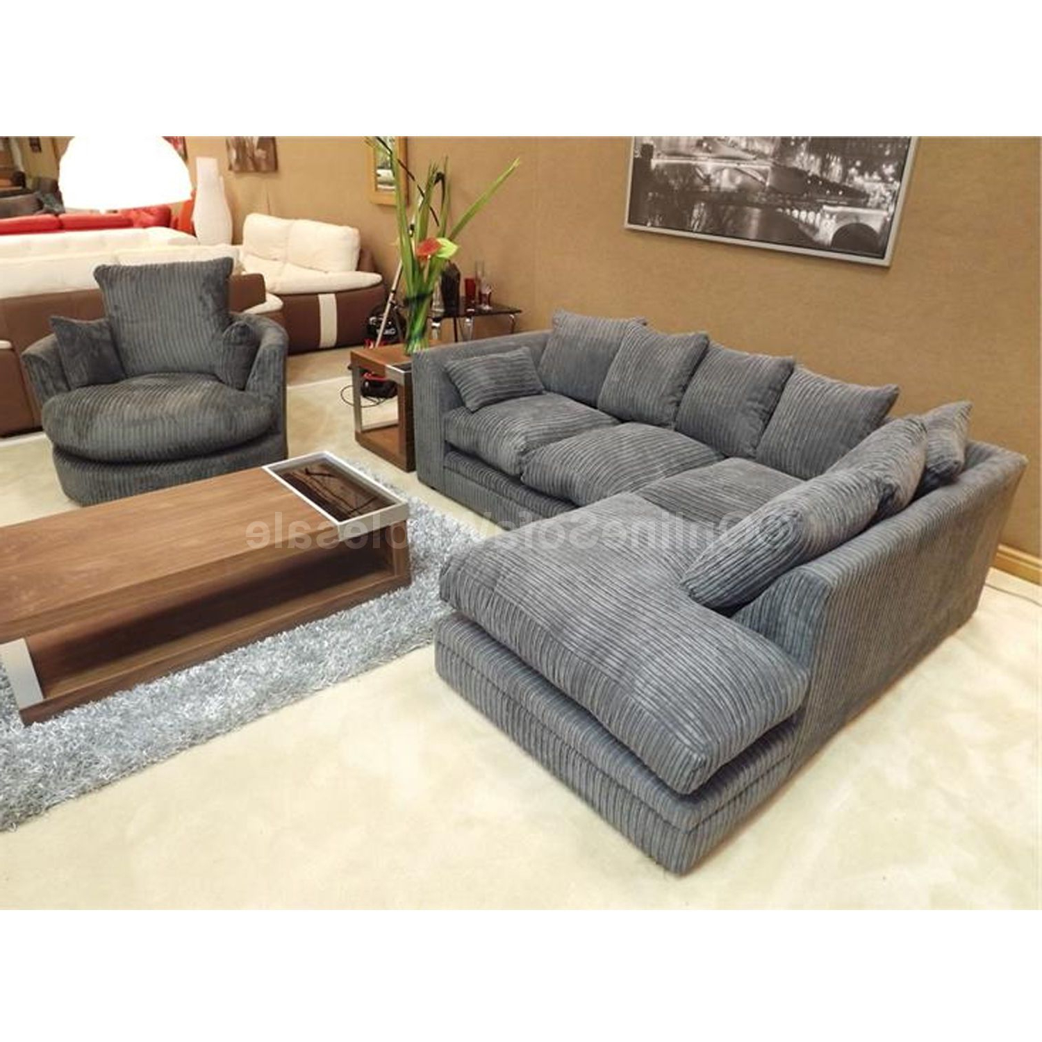 2019 Dark Grey Swivel Chairs Intended For Details About Dylan Corner Sofa Left Hand Plus Swivel Chair – All (View 15 of 20)