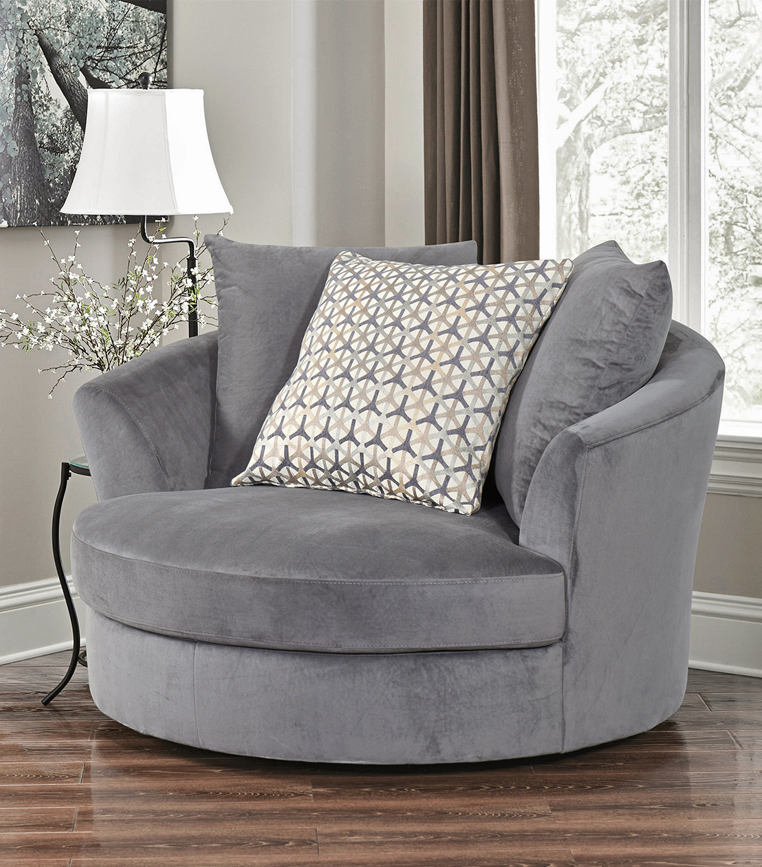 2019 Grey Swivel Chairs Regarding Chairs : Tanya Swivel Chair, Grey (View 5 of 20)