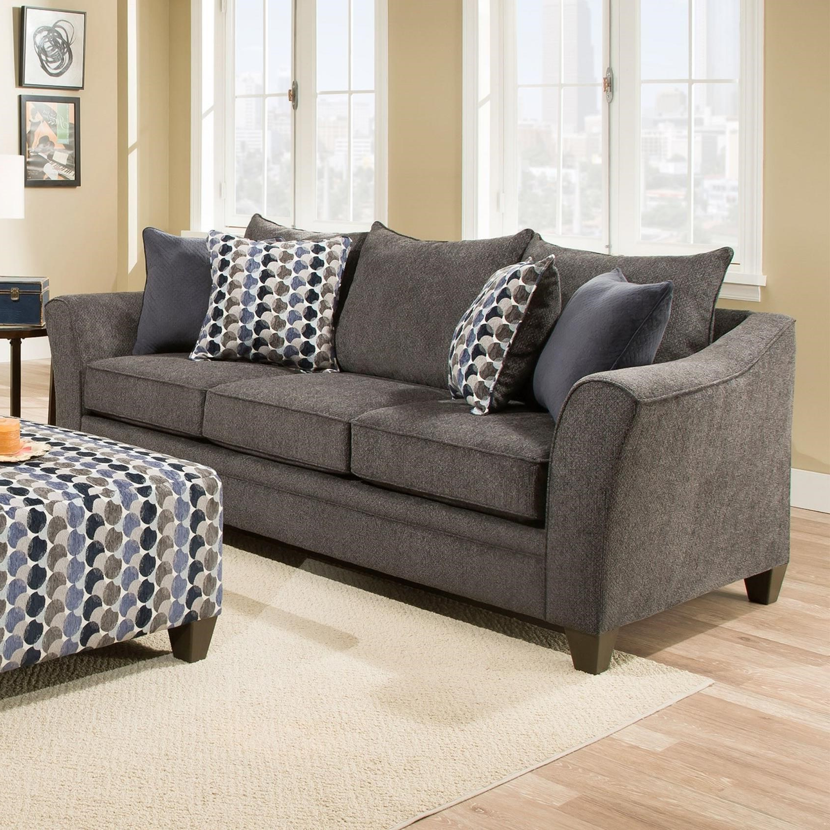 2019 Kiara Sofa Chairs Throughout Umber Kiara 6485Sofa Transitional Sofa With Flared Arms (Gallery 10 of 20)