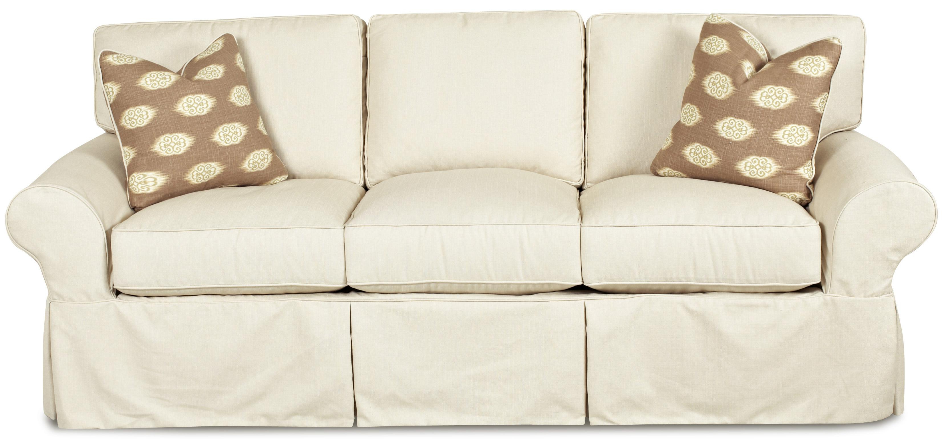 2019 Klaussner Patterns Slipcovered Sofa With Rolled Arms And Tailored With Slipcovers For Chairs And Sofas (View 2 of 20)