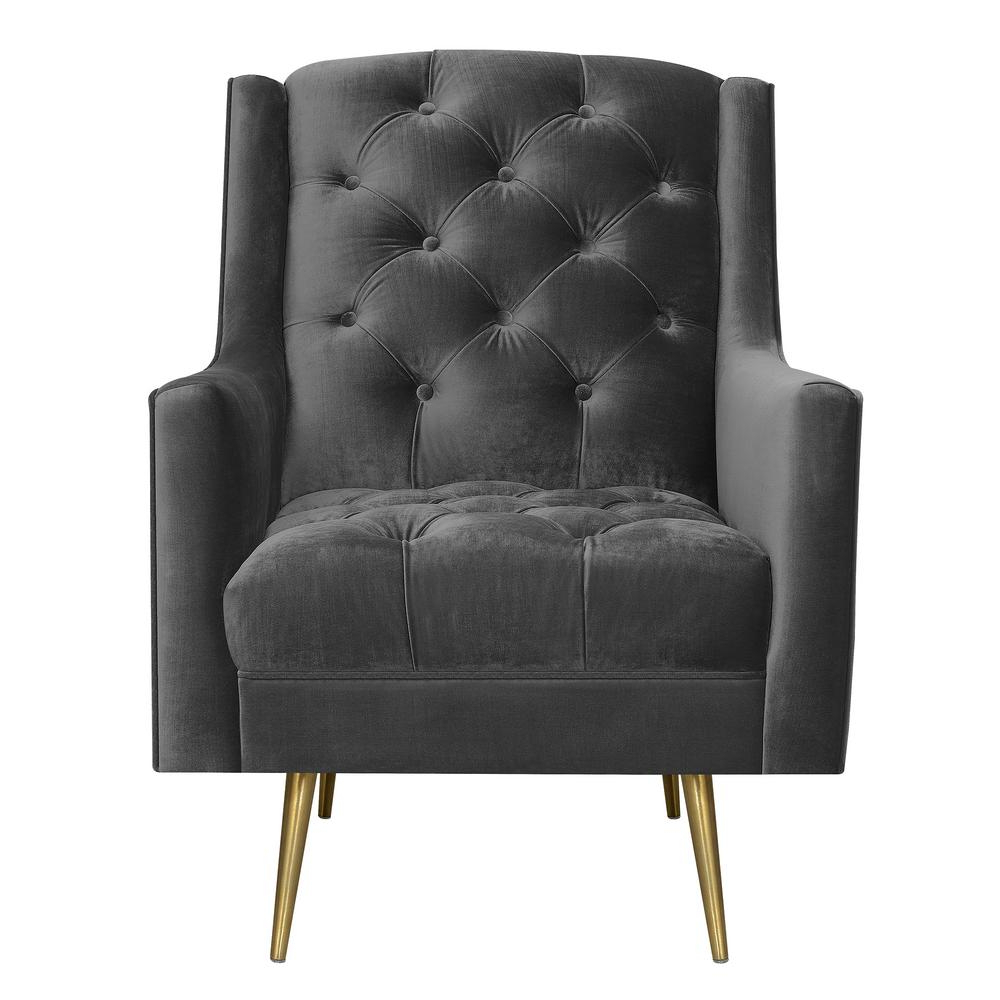 2019 Loft Black Swivel Accent Chairs Regarding Reese Slate Button Tufted Accent Chair With Gold Legs Uby288100Glg (Gallery 15 of 20)