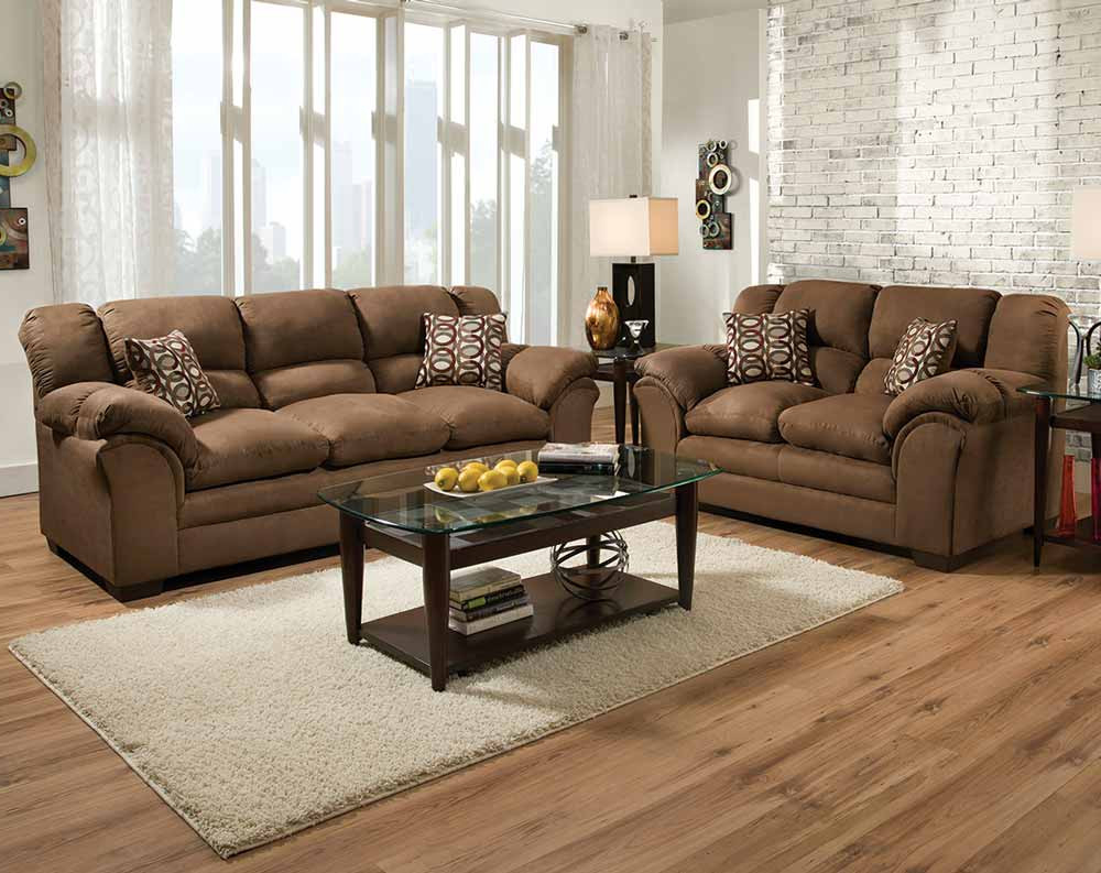 2019 Mansfield Cocoa Leather Sofa Chairs Intended For Discount Living Room Furniture Sets (View 2 of 20)